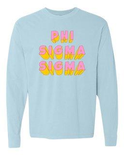 Phi Sigma Sigma 3Delightful Long Sleeve T-Shirt - Comfort Colors