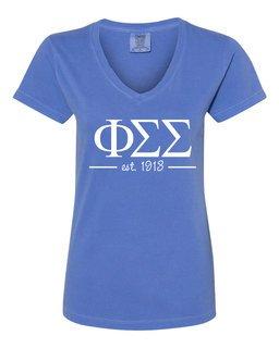 Phi Sigma Sigma Comfort Colors Custom V-Neck T-Shirt