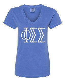 Phi Sigma Sigma Comfort Colors V-Neck T-Shirt