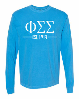 Phi Sigma Sigma Custom Greek Lettered Long Sleeve T-Shirt - Comfort Colors