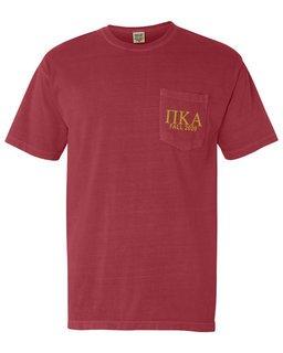 Pi Kappa Alpha Greek Letter Comfort Colors Pocket Tee