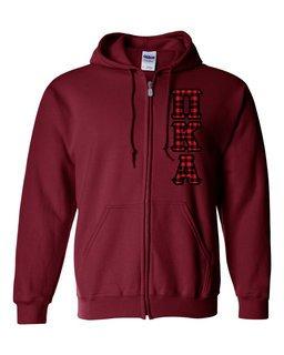 "Pi Kappa Alpha Heavy Full-Zip Hooded Sweatshirt - 3"" Letters!"