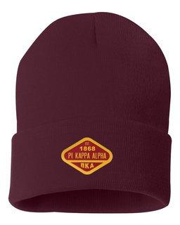 DISCOUNT-Pi Kappa Alpha Woven Emblem Knit Cap