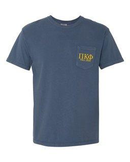 Pi Kappa Phi Greek Letter Comfort Colors Pocket Tee