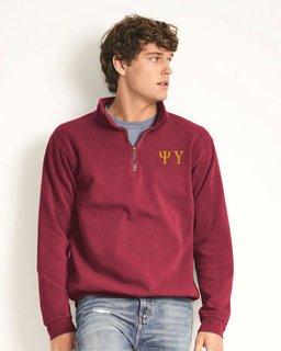 Psi Upsilon Comfort Colors Garment-Dyed Quarter Zip Sweatshirt