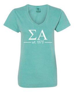 Sigma Alpha Comfort Colors Custom V-Neck T-Shirt