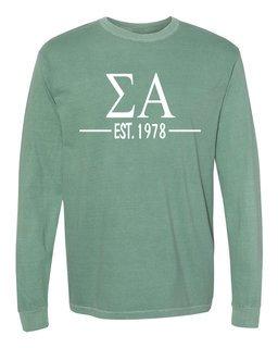 Sigma Alpha Custom Greek Lettered Long Sleeve T-Shirt - Comfort Colors