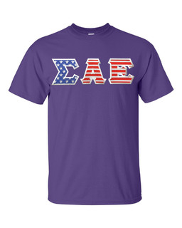 Sigma Alpha Epsilon Greek Letter American Flag Tee