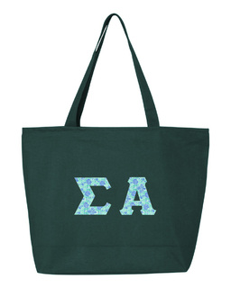Sigma Alpha Greek Letter Zipper Tote