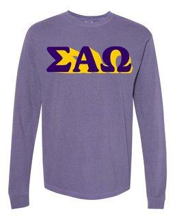 Sigma Alpha Omega 3 D Greek Long Sleeve T-Shirt - Comfort Colors