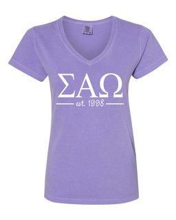Sigma Alpha Omega Comfort Colors Custom V-Neck T-Shirt