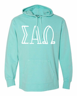 Sigma Alpha Omega Comfort Colors - Terry Scuba Neck Greek Hooded Pullover