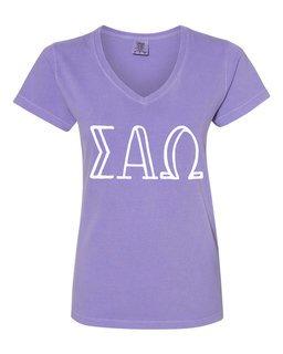 Sigma Alpha Omega Comfort Colors V-Neck T-Shirt