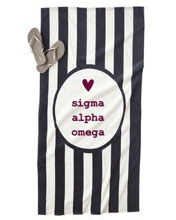 Sigma Alpha Omega Striped Beach Towel