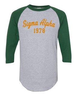 Sigma Alpha Script Established Raglan