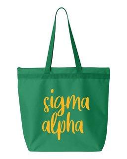 Sigma Alpha Script Tote Bag