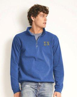 Sigma Chi Comfort Colors Garment-Dyed Quarter Zip Sweatshirt