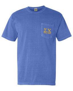 Sigma Chi Greek Letter Comfort Colors Pocket Tee