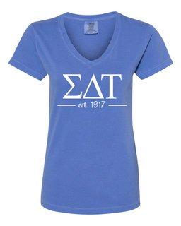 Sigma Delta Tau Comfort Colors Custom V-Neck T-Shirt