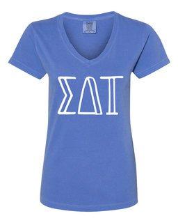 Sigma Delta Tau Comfort Colors V-Neck T-Shirt