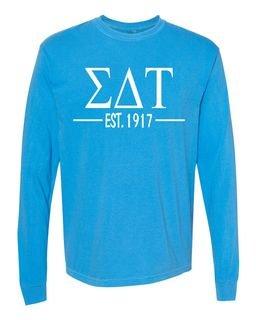 Sigma Delta Tau Custom Greek Lettered Long Sleeve T-Shirt - Comfort Colors