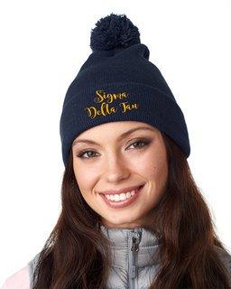 Sigma Delta Tau Knit Pom-Pom Beanie with Cuff