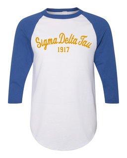 Sigma Delta Tau Script Established Raglan