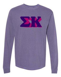 Sigma Kappa 3 D Greek Long Sleeve T-Shirt - Comfort Colors