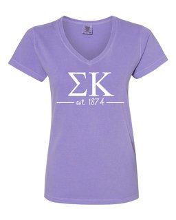 Sigma Kappa Comfort Colors Custom V-Neck T-Shirt