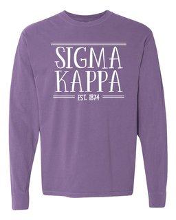Sigma Kappa Comfort Colors Custom Long Sleeve T-Shirt
