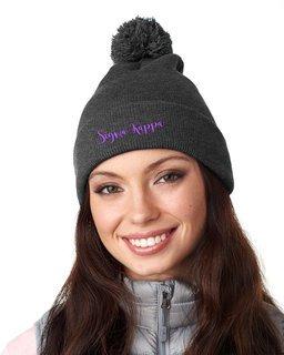 Sigma Kappa Knit Pom-Pom Beanie with Cuff
