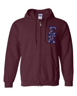 "Sigma Kappa Lettered Heavy Full-Zip Hooded Sweatshirt (3"" Letters)"