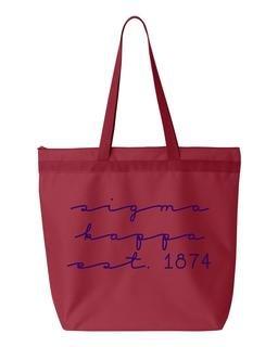Sigma Kappa New Script Established Tote Bag