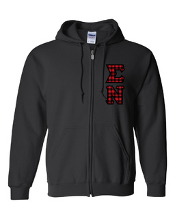 "Sigma Nu Heavy Full-Zip Hooded Sweatshirt - 3"" Letters!"