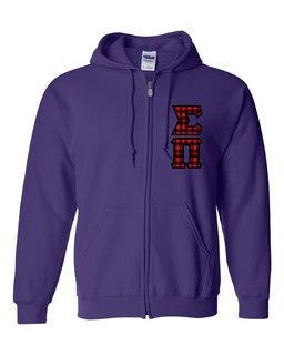 "Sigma Pi Heavy Full-Zip Hooded Sweatshirt - 3"" Letters!"