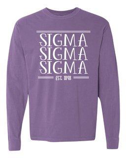Sigma Sigma Sigma Comfort Colors Custom Long Sleeve T-Shirt