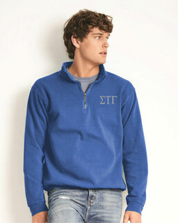 Sigma Tau Gamma Comfort Colors Garment-Dyed Quarter Zip Sweatshirt
