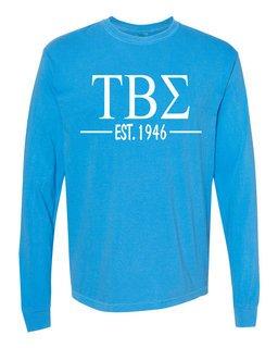 Tau Beta Sigma Custom Greek Lettered Long Sleeve T-Shirt - Comfort Colors