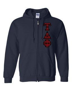"Tau Delta Phi Heavy Full-Zip Hooded Sweatshirt - 3"" Letters!"
