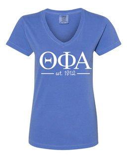 Theta Phi Alpha Comfort Colors Est. V-Neck T-Shirt