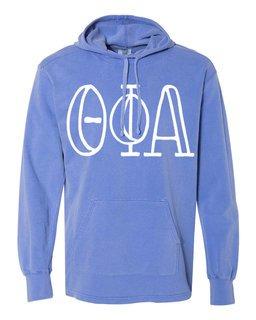 Theta Phi Alpha Comfort Colors - Terry Scuba Neck Greek Hooded Pullover