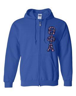 "Theta Phi Alpha Lettered Heavy Full-Zip Hooded Sweatshirt (3"" Letters)"
