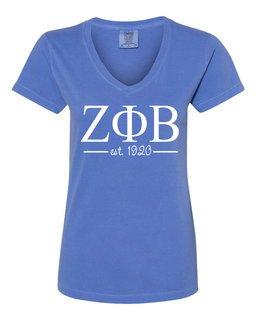Zeta Phi Beta Comfort Colors Custom V-Neck T-Shirt