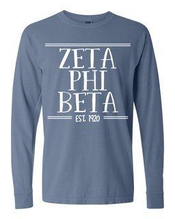 Zeta Phi Beta Comfort Colors Custom Long Sleeve T-Shirt