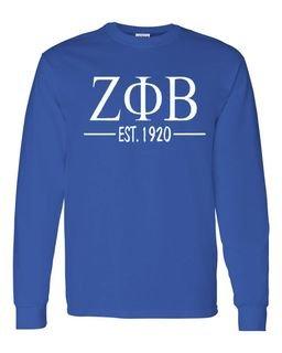 Zeta Phi Beta Custom Greek Lettered Long Sleeve T-Shirt