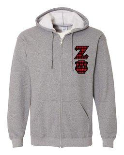 "Zeta Psi Heavy Full-Zip Hooded Sweatshirt - 3"" Letters!"