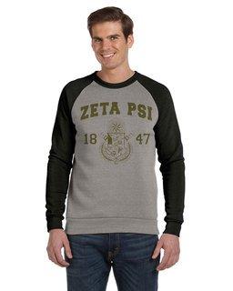 Zeta Psi Triblend Colorblocked Champ Fashion Crew Sweatshirt