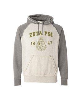 Zeta Psi Vintage Heather Hooded Sweatshirt