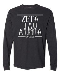 Zeta Tau Alpha Comfort Colors Custom Long Sleeve T-Shirt