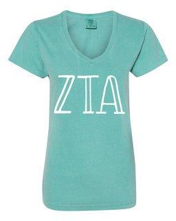 Zeta Tau Alpha Comfort Colors V-Neck T-Shirt